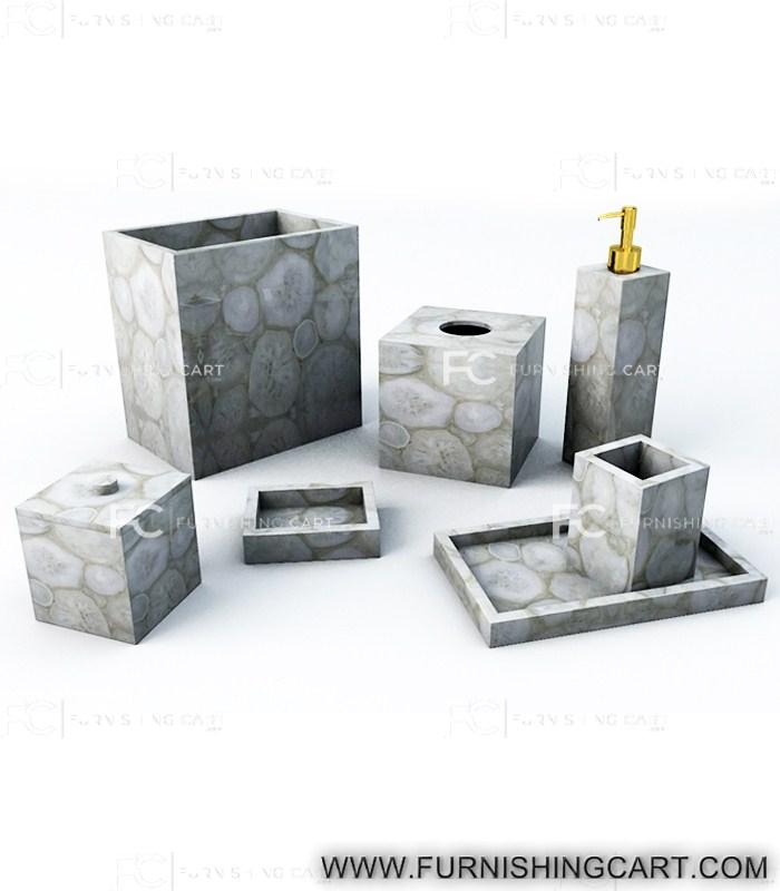 White Agate Bathroom Accessories Set
