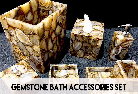 Precious stone bath accessories set for sale