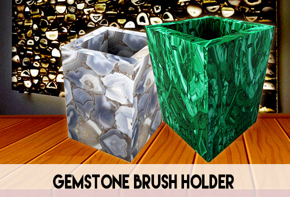 Brush holder in semi precious gemstone
