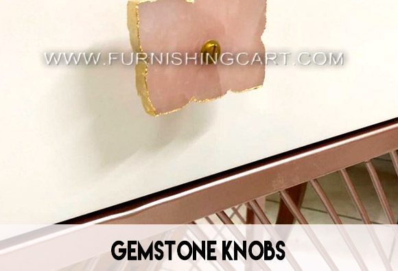 Knobs drawer puller in semi precious stones