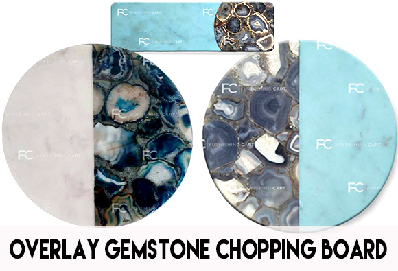 Chopping board in semi precious stones