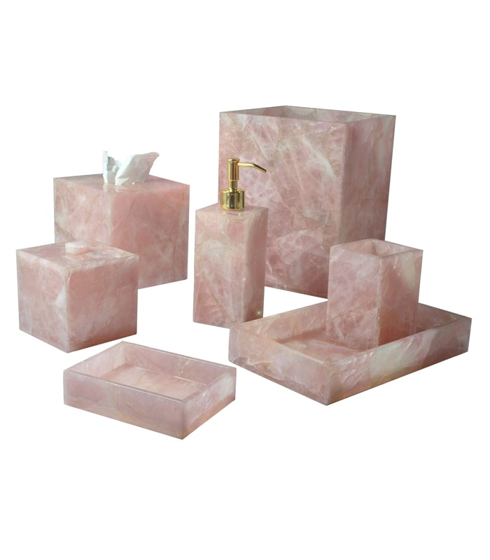 pink rose quartz bath accessories set pink quartz