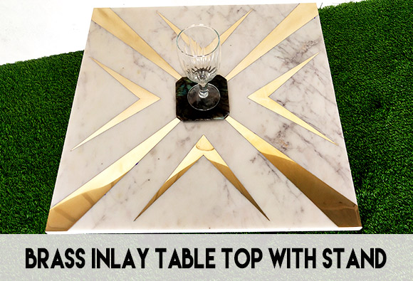 brass inlay overlay table top with stand