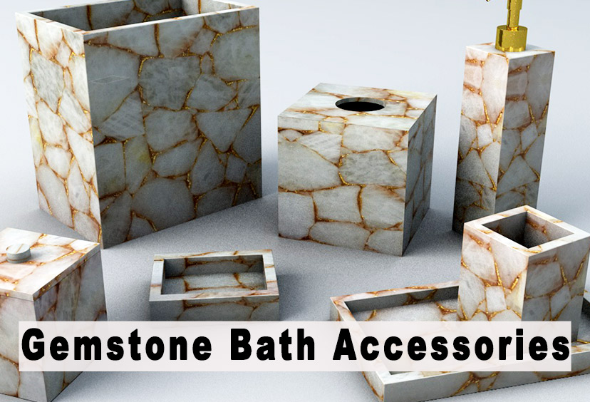 Gemstone Bath Accessories Set For Sale