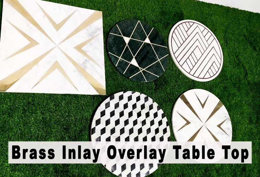Brass inlay overlay table top collection