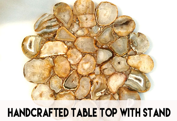 Handcrafted precious stone table top